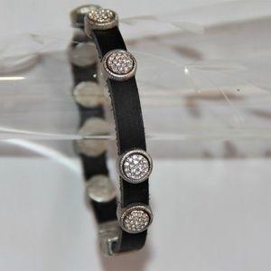 Jewelry - Black Leather Round Silver Pave Crystal Bracelet